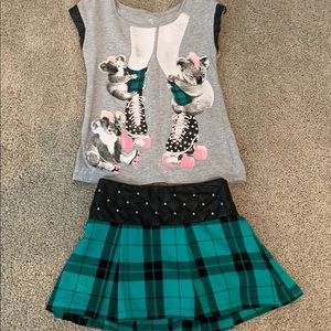 Justice girls outfit -skort and shirt